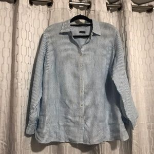 White linen style button down with blue stripes